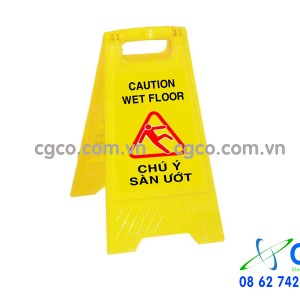 Biển báo chữ A chú ý sàn ướt caution wet floor