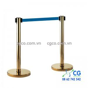 Cột chắn inox mạ vàng G28-H dây kéo rút