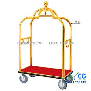 Xe đẩy hành lý khách sạn bằng inox vàng D2-A