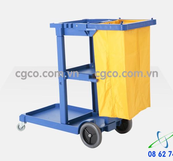 Xe đẩy làm vệ sinh chữ L 3 tầng bằng nhựa