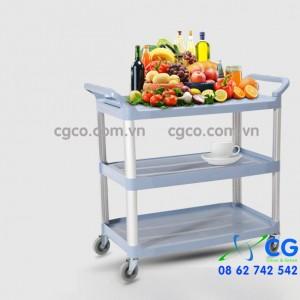 Xe đẩy thức ăn phục vụ bàn bằng nhựa 3 tầng loại lớn