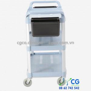 Xe đẩy phục vụ bàn bằng nhựa 3 tầng loại lớn có khay