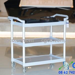 Xe đẩy tay phục vụ bàn bằng nhựa khung nhôm