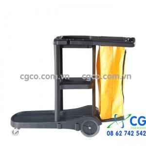 Xe đẩy làm vệ sinh màu đen chữ L bằng nhựa AF08180