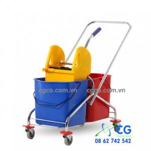 Xe đẩy lau nhà 2 xô khung inox HC072