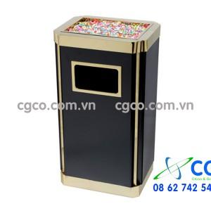 Thùng rác thép có gạt tàn thuốc inox