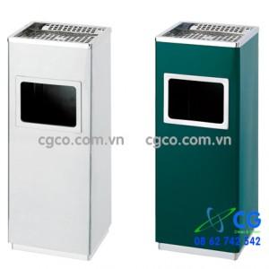 Thùng rác inox vuông khay gạt tàn inox A34-B