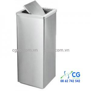 Thùng rác inox trắng vuông nắp lật