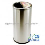 Thùng rác inox 304 tròn A35-S gạt tàn đặt sảnh
