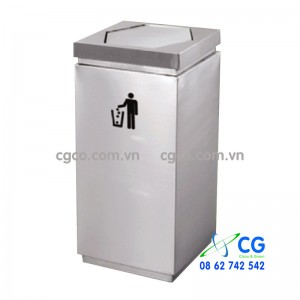 Thùng đựng rác inox có nắp lật đặt sảnh