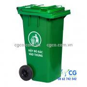 Thùng rác nhựa 120L xanh lá cây có bánh xe