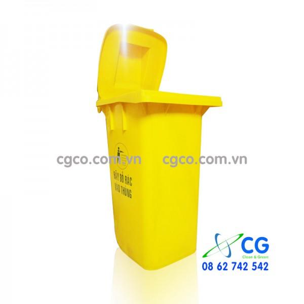 Thùng rác nhựa 120L y tế màu vàng bỏ rác nguy hại