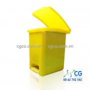 Thùng rác nhựa 15L đạp chân vàng xanh lá