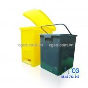 Thùng rác nhựa 20L đạp chân vàng xanh lá