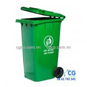 Thùng rác nhựa 240L xanh lá cây có bánh xe di chuyển