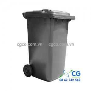 Thùng rác nhựa 240L màu ghi đen