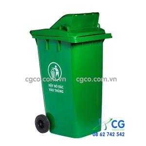 Thùng rác nhựa 240L xanh lá cây nắp hở tiện dụng