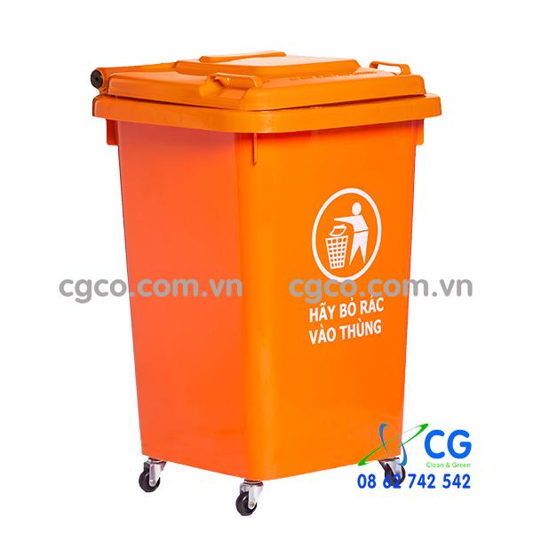 Thùng rác nhựa 60L xanh lá cây có bánh xe