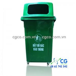 Thùng rác nhựa 90L xanh lá cây có bánh xe nắp hở