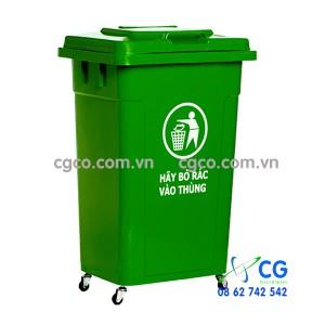 Thùng rác nhựa 90L nắp kín màu xanh lá