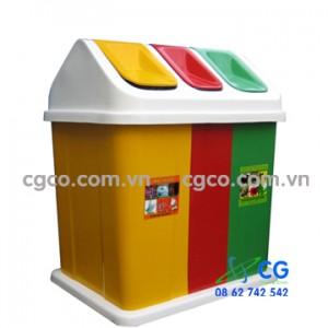 Thùng rác nhựa 3 ngăn treo đôi công cộng