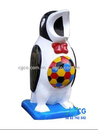 Thùng rác nhựa Composite hình con chim cánh cụt màu sắc