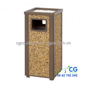 Thùng chứa rác lát sỏi quanh thân thùng cao cấp