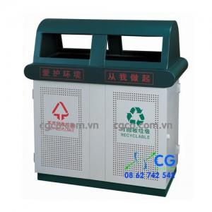 Bán thùng đựng rác kim loại 2 ngăn có mái che