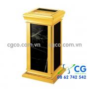 Thùng rác đá hoa cương inox vàng A16