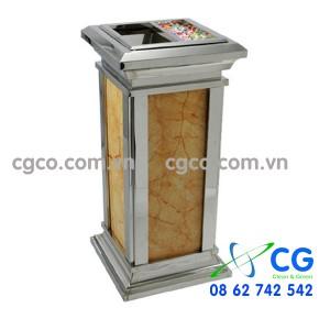 Thùng rác đá hoa cương inox trắng đặt sảnh thang máy