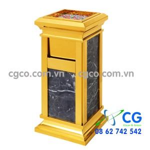 Thùng rác đá hoa cương inox vàng A15