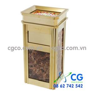 Thùng rác inox mạ vàng đá hoa cương cao cấp