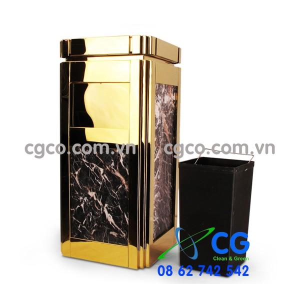 Thùng rác đá hoa cương inox vàng A11