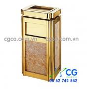 Thùng rác đá hoa cương inox vàng cho khách sạn nhà hàng
