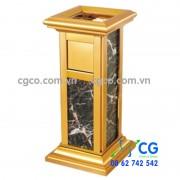 Thùng rác đá hoa cương inox mạ vàng sang trọng