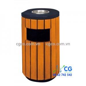 Thùng rác tròn có gạt tàn bằng gỗ thân thép