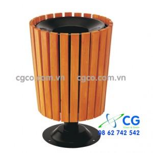 Thùng rác gỗ loại tròn kiểu dáng lạ mắt