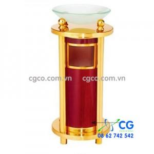 Thùng rác inox mạ vàng có khay thủy tinh sang trọng