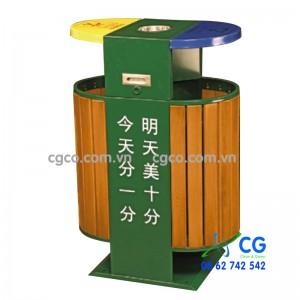 Thùng rác ngoài trời bằng gỗ phân loại rác