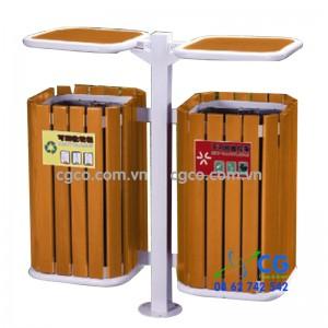 Thùng rác gỗ để công viên có 2 ngăn treo